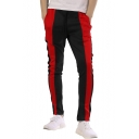 Men's New Fashion Drawstring Waist Color Block Fitted Sports Pants