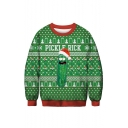Trendy 3D Christmas Pattern Round Neck Long Sleeve Regular Fitted Green Sweatshirt