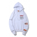Letter NASA Patched Long Sleeve Loose Fitted Sports Hoodie