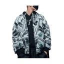 Fashion Pattern Long Sleeve Stand Collar Zip Up Reversible Black Cotton-Padded Jacket