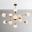 Post Modern Living Room Lighting Cream Glass Light Fixture 39.5 Inch Long 12 Light LED Glass Globe Chandelier in Gold Height Adjustable