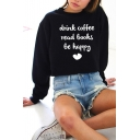 Chic Letter Sweet Heart Printed Long Sleeve Loose Crewneck Cotton Sweatshirt for Girls