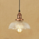 Rust Finish Dome Suspended Light Vintage Style Swirl Glass 1 Head Hanging Pendant for Hallway Foyer