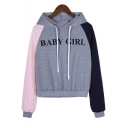 New Trendy Color Block Long Sleeve Letter BABY GIRL Printed Gray Hoodie
