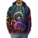 Hip Hop Style Fashion 3D Graffiti Printed Long Sleeve Relaxed Black Hoodie