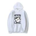 New Trendy Letter Cartoon Cup Printed Long Sleeve Loose Fitted Hoodie
