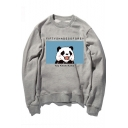 Cute Cartoon Panda Pattern Round Neck Long Sleeve Cotton Sweatshirt for Couple