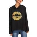 Chic Gold Stamping Lip Patched Long Sleeve High Low Hem Loose Fitted Black Hoodie
