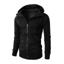 Men's New Arrival Long Sleeve Sports Casual Zip Up Fitted Solid Hoodie