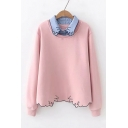 Lapel Collar Patched Long Sleeve Trendy Lovely Cat Wave Hem Pullover Sweatshirt
