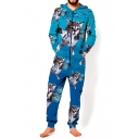 Hooded Long Sleeve 3D Cartoon Cat Printed Loose Casual Blue Jumpsuits