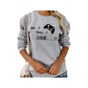 Funny Letter EAT SLEEP GAME Pattern Long Sleeve Casual Gray Sweatshirt