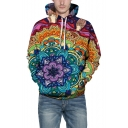 3D Floral Painted Printed Long Sleeve Casual Leisure Sports Hoodie