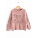 Round Neck Long Sleeve Chic Tassel Embellished Pullover Sweater