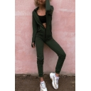 Long Sleeve Hooded Zip Front Casual Sports Jumpsuits
