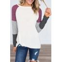 Trendy Color Block Long Sleeve Round Neck Twist Hem Loose Casual T-Shirt