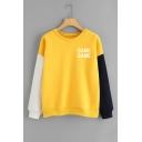 Fashion Colorblock Letter GAME GAME Printed Round Neck Long Sleeve Sweatshirt