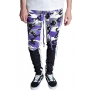 Fashion Color Block Camouflage Printed Sports Cotton Fitted Pants