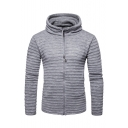 Men's Long Sleeve Hooded Basic Solid Zip Up Fitted Cardigan