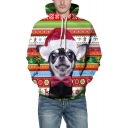 3D Lovely Cartoon Christmas Dog Pattern Long Sleeve Color Block Unisex Hoodie