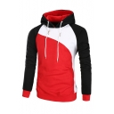 Men's Trendy Color Block Long Sleeve Fitted Sports Hoodie