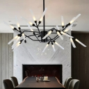 Black LED Multi Light Chandeliers 18/24/30 Light Stainless Steel LED Spur Chandelier for Staircase Foyer Porch Living Room