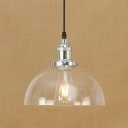 Industrial Style Dome Suspension Clear Glass Single Pendant Light in Chrome/Bronze for Restaurant