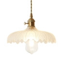 Clear Glass Floral Shade Hanging Pendant 1 Light in Brass for Dining Room Kitchen