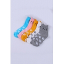 Five-Pair Lovely Cartoon Cat Claw Printed Breathable Cotton Unisex Socks