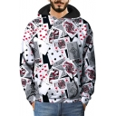 Unique 3D Poker Cards Pattern Long Sleeve Street Style White Hoodie