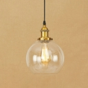 Brass/Copper Finish Ball Suspension Vintage 1 Light Ceiling Pendant with Clear Glass for Clothes Stores