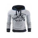 New Fashion Color Block Letter Printed Long Sleeve Slim Fitted Gray Hoodie for Men
