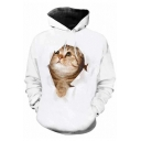 Lovely 3D Yellow Cat Printed Loose Leisure Sports White Hoodie