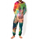 New Arrival Trendy 3D Green and Red Galaxy Pattern Hooded Long Sleeve Leisure Jumpsuits