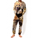3D Khaki Cartoon Cat Pattern Hooded Long Sleeve Loose Fitted Unisex Jumpsuits