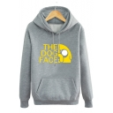 Funny Cartoon Letter THE DOG FACE Printed Long Sleeve Fitted Hoodie for Guys