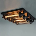 4-light Black Industrial LOFT Punk Steam Wall Washer