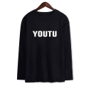 Letter YOUTU Printed Long Sleeve Round Neck Loose Tee for Couple