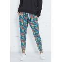 Hot Sale Floral Printed Drawstring Waist Harem Pants for Women