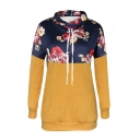 Colorblock Floral Printed Long Sleeve High Neck Leisure Hoodie