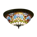 Baroque Design Tiffany Style Flush Mount Ceiling Light with Fancy Pattern Glass Shade in 20