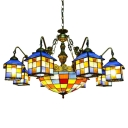 Lodge Style Tiffany Stained Glass House Designed Chandelier with Colorful Center Bowl and Mermaid Arms