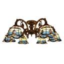 Mediterranean Style Blue Stained Glass 6/9 Lights Semi Flush Mount Ceiling Light for Living Room