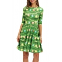 Christmas Bell Printed Half Sleeve Green Midi A-Line Pleated Dress