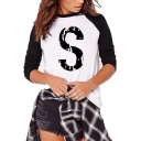 Letter S Printed Black and White Colorblock Long Sleeve Regular Tee for Women