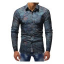 Men's Stylish Tie Dye Long Sleeve Button Down Gray Slim Fit Shirt