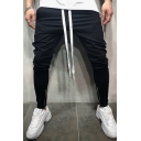 Men's Hip Hop Color Block Zip Embellished Sports Jogger Pants