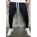 Men's Hip Hop Color Block Zip Embellished Sports Jogger Pants