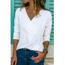 Autumn New Trendy Long Sleeve V Neck Basic Solid Fitted T-Shirt