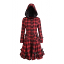 Trendy Black and Red Check Printed Long Sleeve Hooded Bow Embellished Button Front Longline Coat